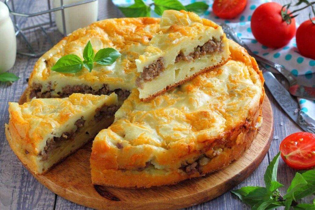 пирог с фаршем и картошкой в мультиварке